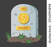 dollar coins icon tombstone... | Shutterstock .eps vector #1016094898