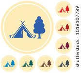 stylized icon of tourist tent.... | Shutterstock .eps vector #1016107789