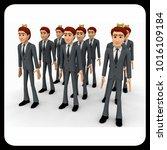 3d men in three queue concept... | Shutterstock . vector #1016109184