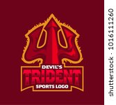 trident weapon of devil mascot...   Shutterstock .eps vector #1016111260