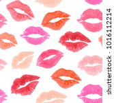 pink print kiss lip mark... | Shutterstock . vector #1016112214