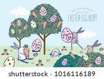 easter egg hunt poster.... | Shutterstock .eps vector #1016116189