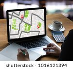 gps map to route destination... | Shutterstock . vector #1016121394
