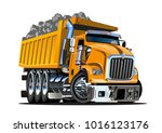 vector cartoon dump truck....   Shutterstock .eps vector #1016123176