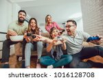 group of friends play video...   Shutterstock . vector #1016128708