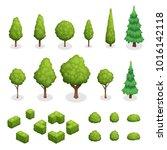 isometric set of park plants... | Shutterstock . vector #1016142118