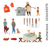colored and isolated barbecue... | Shutterstock . vector #1016143570