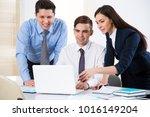 attractive businesswoman... | Shutterstock . vector #1016149204
