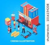 cinematography isometric design ... | Shutterstock . vector #1016154208