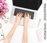 girl working on laptop.... | Shutterstock . vector #1016154466