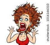 funny scared woman. comic book... | Shutterstock .eps vector #1016166310