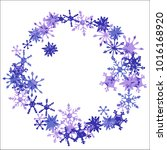 winter frame with cute doodle... | Shutterstock .eps vector #1016168920