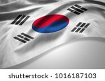 south korea  flag of silk with... | Shutterstock . vector #1016187103