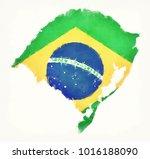 rio grande do sul watercolor... | Shutterstock . vector #1016188090