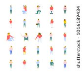 a vector icons collection of... | Shutterstock .eps vector #1016189434