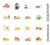 set of breakfast icons in flat... | Shutterstock .eps vector #1016192569