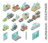 mobile homes isometric set... | Shutterstock . vector #1016194600