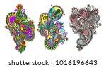 paisley flower pattern in...   Shutterstock .eps vector #1016196643