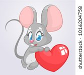 cartoon cute mouse  holding a... | Shutterstock .eps vector #1016204758