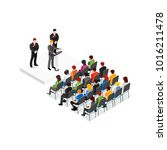 party meeting isometric design... | Shutterstock . vector #1016211478