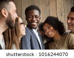 happy diverse black and white... | Shutterstock . vector #1016244070