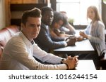 diverse people looking at... | Shutterstock . vector #1016244154