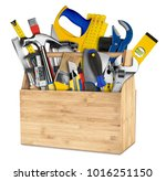 wooden retro box filled with... | Shutterstock . vector #1016251150