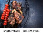 barbecue leg of lamb and a... | Shutterstock . vector #1016251933