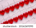 two rows of red hearts on the...   Shutterstock . vector #1016269390