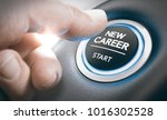 Small photo of Finger pressing a new career start button. Concept of occupational or professional retraining or job opportunities. Composite between a hand photography and a 3D background