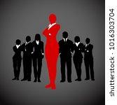 bold female leader of a... | Shutterstock .eps vector #1016303704