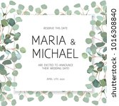 wedding eucalyptus square...   Shutterstock .eps vector #1016308840
