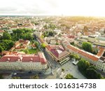 vilnius cathedral square aerial ... | Shutterstock . vector #1016314738