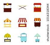 market stall icon set. flat... | Shutterstock . vector #1016318344
