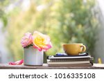 yellow cup with big yellow pink ... | Shutterstock . vector #1016335108
