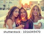 best friends teen girls with... | Shutterstock . vector #1016345470