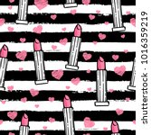Vector seamless pink lipstick pattern, hand drawn, outlines black and white colors, on the stripes with pink hearths