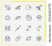 astronomy line icon set  saturn ... | Shutterstock .eps vector #1016362270
