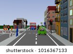 city view with traffic light... | Shutterstock . vector #1016367133