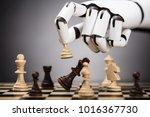 close up of a robot's hand... | Shutterstock . vector #1016367730