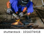 Small photo of Flame sparks with electric grinder Change the swaying back and forth all the time