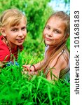 two cheerful girls having fun... | Shutterstock . vector #101638183