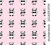 seamless baby pattern with cute ... | Shutterstock .eps vector #1016391934