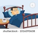 sick man lies in bed. headache. ... | Shutterstock .eps vector #1016393638
