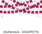 qatar flags garland white... | Shutterstock .eps vector #1016393776