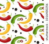 hot chili peppers pattern... | Shutterstock .eps vector #1016400256