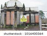 warning unsafe building beware...   Shutterstock . vector #1016400364