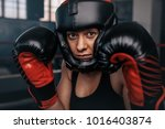 close up of a female boxer in... | Shutterstock . vector #1016403874