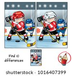 two hockey players on the... | Shutterstock .eps vector #1016407399