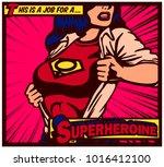 pop art comics style female... | Shutterstock .eps vector #1016412100